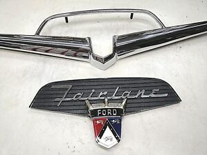 56 1956 Ford Fairlane Chrome Trunk Vee Kit Deck Lid New