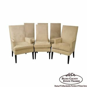 Quality Set Of 6 Upholstered Parsons Dining Chairs