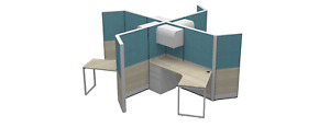Contemporary Teaming Workstations 120 Degree Cubicles Seats 6 Gray Blue Wht