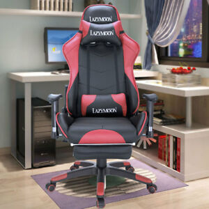 Pu Leather High Back Racing Home Office Chair Ergonomic Gaming Chair W footrest