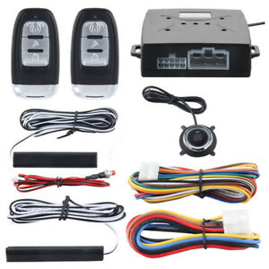 Pke Car Alarm System Passive Keyless Entry Push Button Start stop Remote Engine