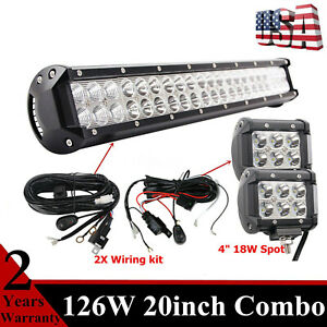 20inch 126w Led Light Bar With 18w Wiring Kit Off Road Gmc Ranger Tacoma 4 Mk
