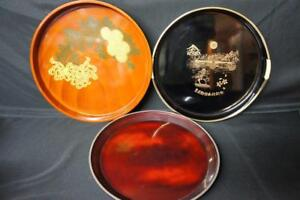 3 Japanese Lacquer Ware Trays