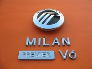 06 07 08 09 Mercury Milan Premier V6 Rear Trunk Lid Emblem Logo Badge Sign Set 2