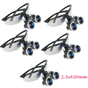 5x Dental Lab Medical Surgical Loupes 2 5x420mm Optical Glasses Loupe Magnifier
