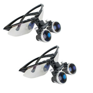 2pcs Dental Medical Surgical Loupes 2 5x420mm Optical Glass Loupe Magnifier Lens