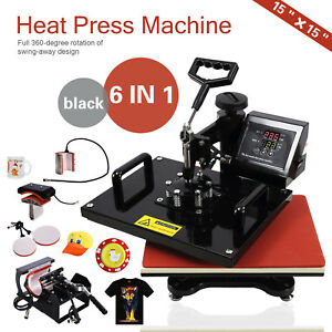 6 In 1 Heat Press Machine Transfer Sublimation Cap T shirt Hat Printing 15 x15