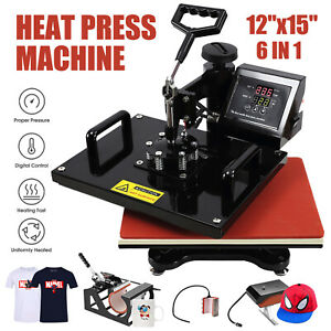 6 In 1 12 x15 Digital Heat Press Machine Transfer For T shirt mug hat Plate