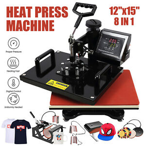 8in1 12 X 15 Dual Digital Transfer Sublimation Heat Press Machine T shirt Mug
