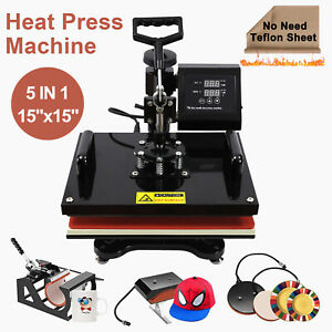 8in1 15 X 15 Heat Press Machine Transfer Sublimation Cap T shirt Hat Printing