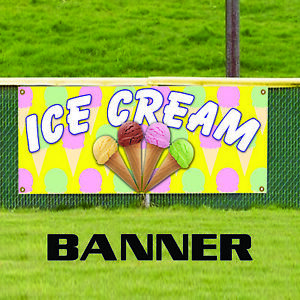 Ice Cream Advertising Vinyl Banner Sign Cone Sundae Banana Split Milk Shake