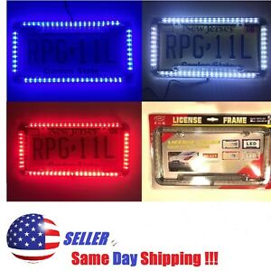 Universal 12v Led Lighting Acrylic Plastic License Plate Cover Frame 3 Colors Us