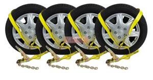 4 Pack 2 Chain Ratchets Lasso Straps Tow Truck Wrecker Car Hauler Wheel Lif