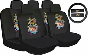 13pcs Luxury Black Poly Cloth Rainbow Art Yoga Car Seat Cover Steering