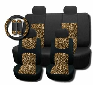 Cheetah Mesh Padded Seat Covers Steering Wheel Set 11pc bst138