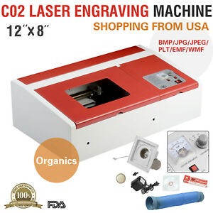 40w 12 x8 Usb Co2 Laser Engraver Cutter Engraving Cutting Machine Red
