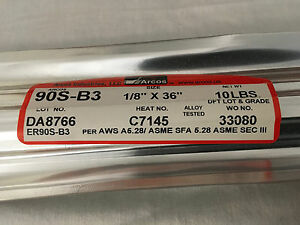 90s b3 1 8 X 36 10lb Arcos Sealed Tig Filler Welding Rod