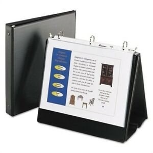 Easel Presentation Durable Binder 1 Round Rings Holds 11 X 8 1 2 Paper Black