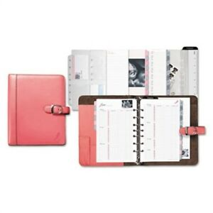 Pink Ribbon Loose leaf Organizer Set 5 1 2 X 8 1 2 Pink Leather Cover