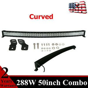 Curved 50 288w Led Light Bar S F Combo Fit Driving Ute Ford Utility Waterproof