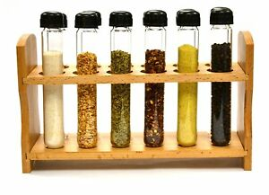 Hand Made Test Tube Spice Rack Wooden Rack With 12 Borosilicate Glass Test 6