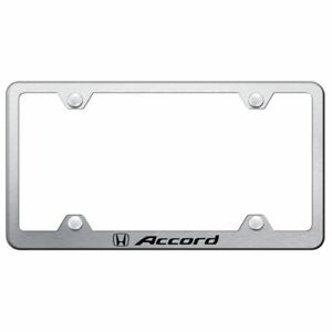 Honda Accord Brushed Chrome Stainless Steel License Plate Frame Lfw acc es