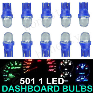 10 X T10 Car 1 Led Side Dashboard Wedge Light Bulb License Plate Lamp Blue 12v