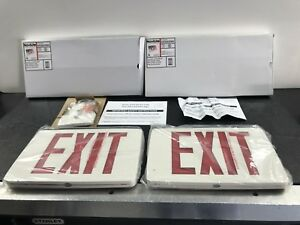 Two New Navilite Lighted Exit Sign Red Double Face Battery Backup