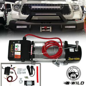 B Wild 12000lb 12v Electric Recovery Winch For Truck Suv Trailer Wireless Remote