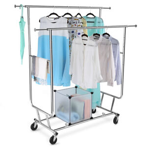 Rolling Portable Adjustable Clothes Rack Double Rail Hanging Garment Heavy Duty