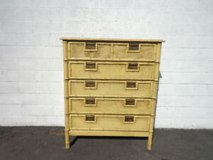 Tall Dresser Lingerie Chest Vintage Faux Bamboo Chinese Chippendale Storage Chic