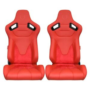 Cipher Ar 9 Revo Racing Seats red Leather suede W Carbon Fiber Pu Backing Pair