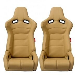 Cipher Auto Viper Racing Seats beige Leatherette Carbon Fiber Pu Pair