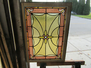 Antique American Stained Glass Window 24 X 33 1 Of 2 Architectural Salvage