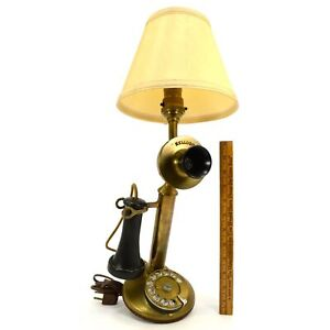 Antique Kellogg Brass Candlestick Rotary Phone Folk Art Conversion To Table Lamp