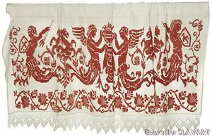 Rare Croatian Antique Peasant Textile Wedding Bed Cover Dowry Linen Wall Hanging