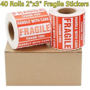 40 Rolls 2 x3 Fragile Stickers Handle With Care Shipping Mailing Label 500 roll