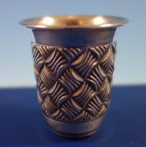 Judaica By Hadad Brothers Sterling Silver Cordial Cup Basket Weave Gw 2049