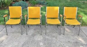 Mid Century Danish Modern Executive Office Arm Chairs Set Of 4 By Mill