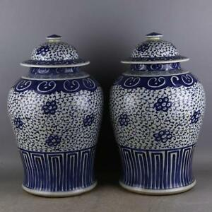 A Pair Great Chinese Blue White Porcelain Put Lotus Flower Hat Covered Jar