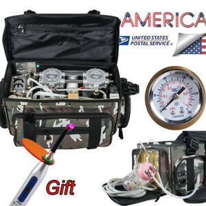 Usa 2 4 Hole Dental Turbine Unit Air Compressor Portable Carry Bag For Outdoor