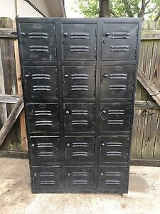 15 Door Old Metal Gym Locker Room School Business Industrial Steam Punk Rare