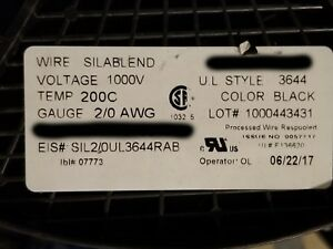 Radix Ngax2t59 2 0awg Sil a blend High Temp Lead Wire 600v 1000v 200c Blk 10ft