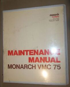 Monarch Vmc 75 Maintenance Manual