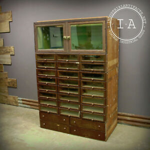 Vintage Industrial Glass Front 28 Drawer Display Cabinet Grand Rapids Showcase