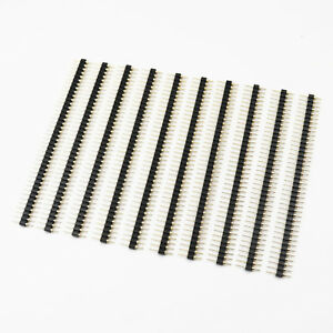 10pcs 2 54mm Male 40 Pins Gold Plated Straight Single Row Round Pin Header Strip