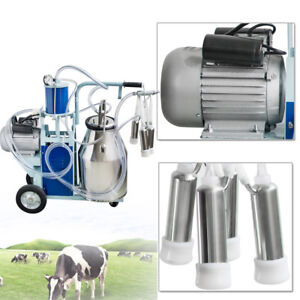 Cow Milker Electric Piston Milking Machine For Cows Farm 25l Bucket 0 55kw Usa