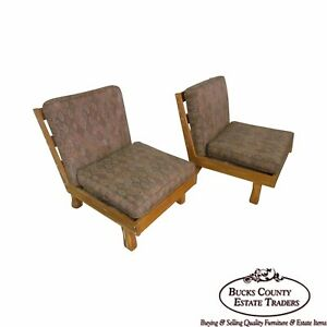 Brandt Ranch Oak Pair Living Room Armless Lounge Chairs