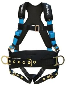 Tractel Large Belted Fall Protection Harness Tongue Buckle Legs With Padding