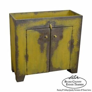 Primitive Distressed Painted Country Small Dry Sink Cabinet